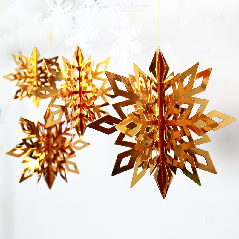 3D Card Paper Snowflakes Christmas Pendant Decorations Party Decorations Hanging Snowflakes Decorations For New Year 6Pcs/set