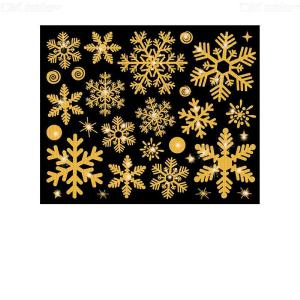 Christmas Glitter Gold Snowflakes Window Sticker Festive Home Store Decor Wall Posters Glass Decoration Wallpaper Xmas Clings