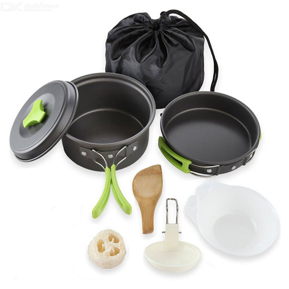 1-2 Person Outdoor Camping Hiking Picnic Pot Set Portable Tableware Mess Cooking Kit Camping Cookware