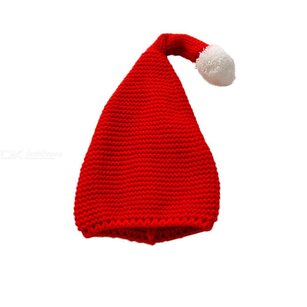 M48 Solid Elf Long Tail Hat Casual Lovely Knit Xmas Hats Candy Knitting Big Ball Cute Warm Hat Woolen Christmas Hat For Kids