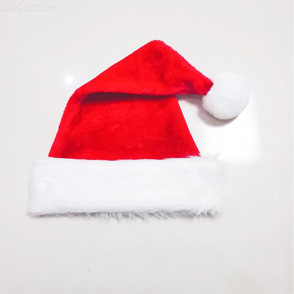 Santa Hat For Adults Xmas Santa Hat Plush Red Comfort Liner Christmas Costume Thicken Plus Size Christmas Ornament