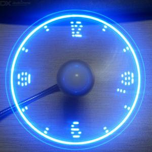 USB Clock Simulation Fan LED Letter-flashing Fan Mini Size Fan  Creative Fan Gifts For Friends Cooling Flashing Message Fan