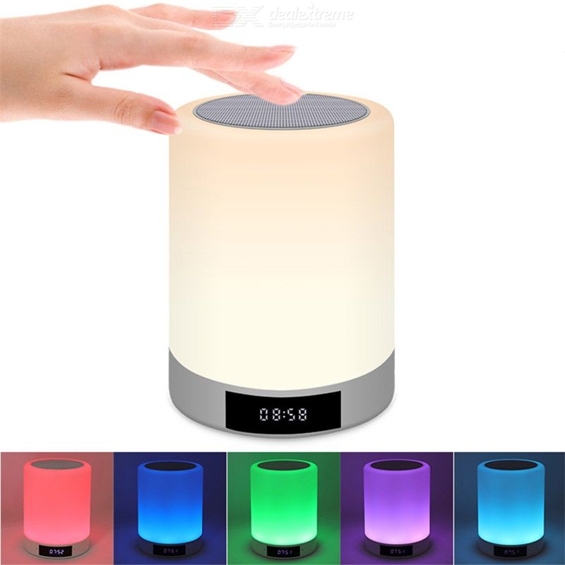 2020  Wireless Bluetooth Speaker Portable Speakers LED Night Lamp Speaker Alarm Clock Speaker Hands-free Calling Speaker