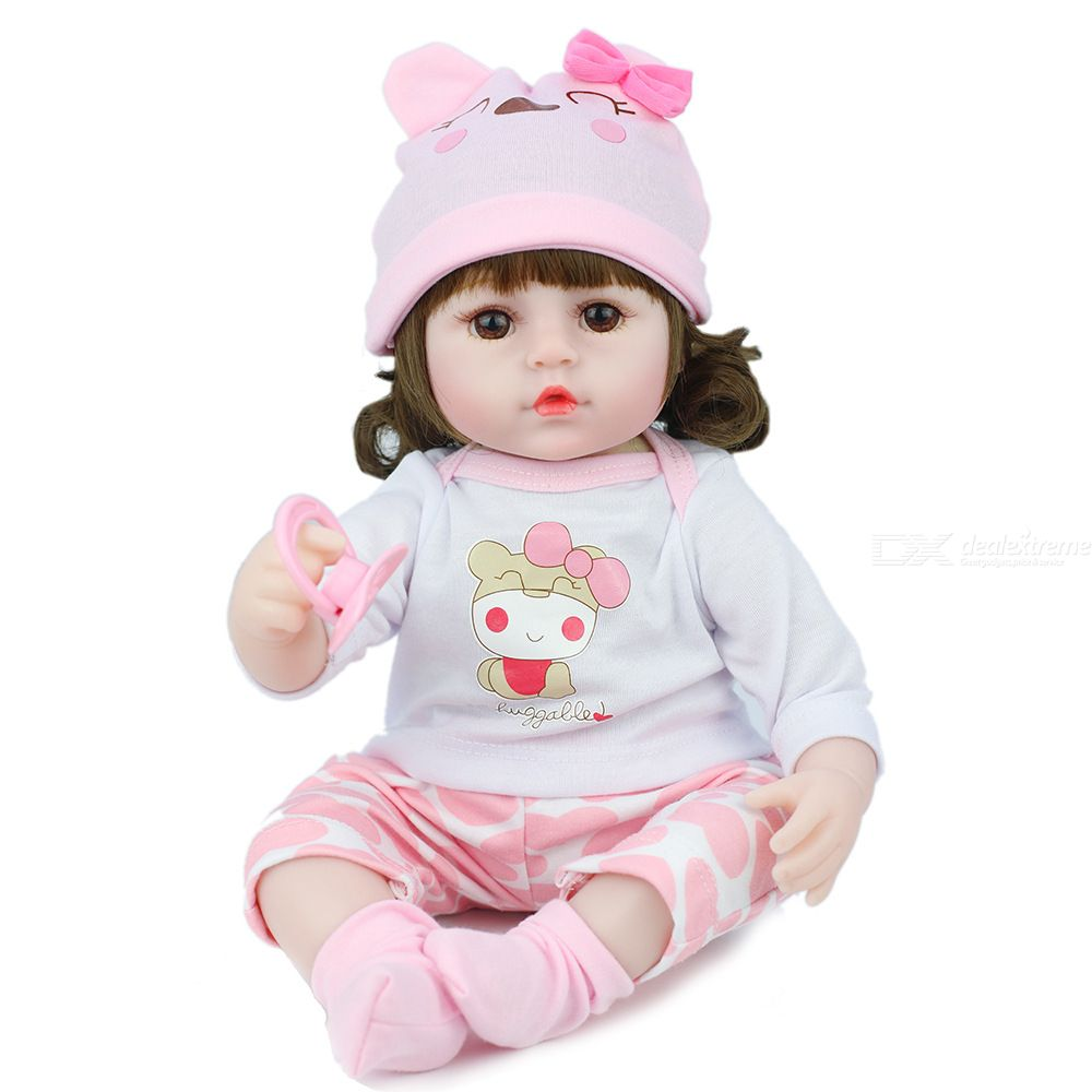 Cute Simulation Curly Hair Doll Baby Dolls Play House Game Doll For Little Kids Girls Lifelike Newborn Baby Birthday Gifts