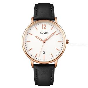 SKMEI 1724 Quartz Watch Luminous Display Waterproof Leather Strap Stainless Steel Buckle For Women