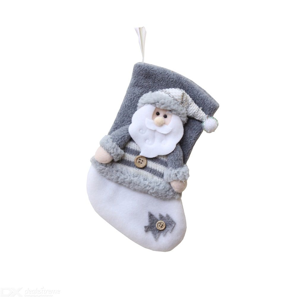 Christmas Stockings Thick Flannel Christmas Socks Santa/Snowman/Elk Christmas Decoration Socks Christmas Candy Gift Bag