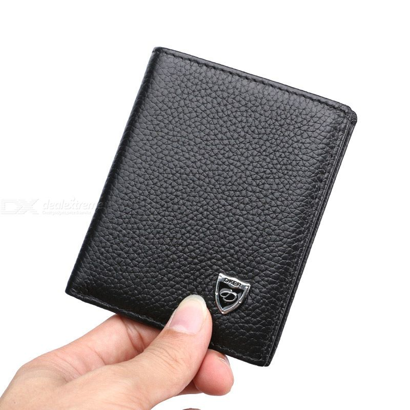 Thin Korean Style Wallet For Man Mini First-layer Cowhide Leather Wallet Short Bifold Wallet Money Clip Men Card Luxury Purse