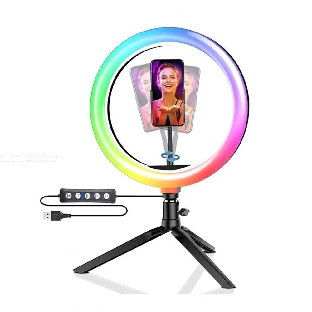 Tongdaytech LED Selfie Ring Fill Light Dimmable RGB Ring Lamp With Tripod For Makeup Video Live Youtube Aro De Luz Para Celular
