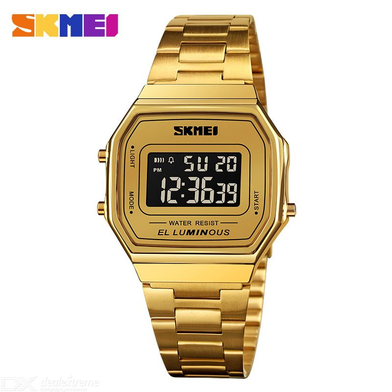 Skmei 1647 Digital Watch Digital Display Waterproof Luminous Display Stainless Steel Strap Stainless Steel Buckle