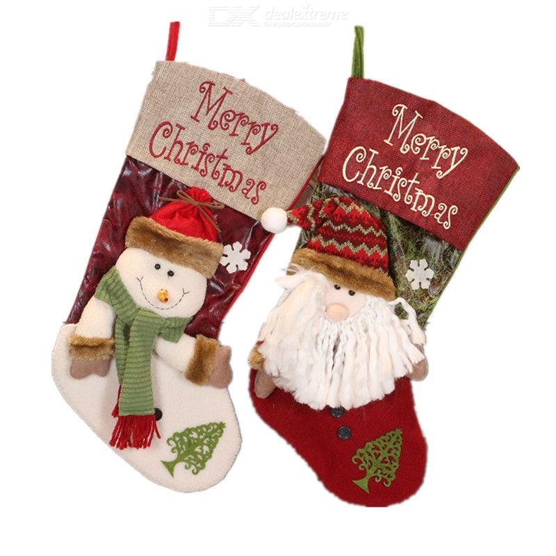 Christmas Stocking Christmas Decoration Stockings 3D Doll Christmas Decoration Santa Claus Candy Bag Large Candy Socks Pendant