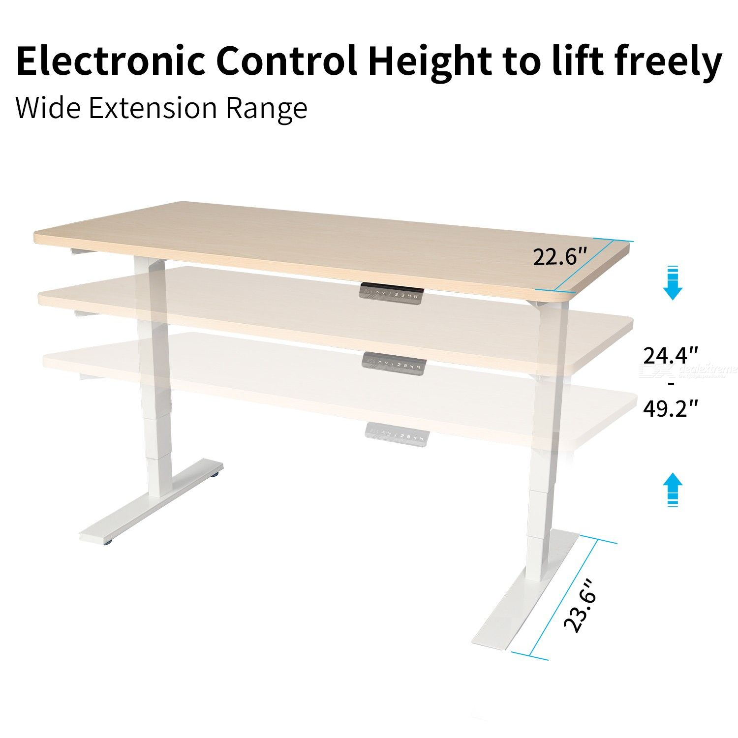 MAIDESITE Frame Electric Height Adjustable Table Frame with Three Sections ONLY Spain, Germany and France