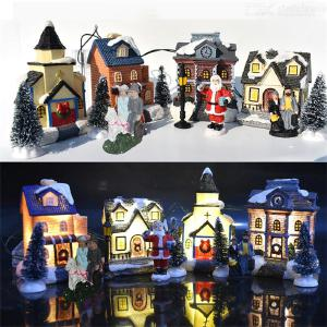 10pcs Christmas Ornaments Luminous House Small Cabin Decoration Santa Claus Doll Set Small House Decoration Santa Claus Suit Hut