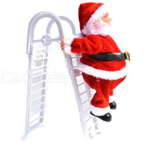 Electric Double Ladder Santa Claus Music Dolls Christmas Decorations Santa Claus Ladder Christmas Decoration Ornament For Kids