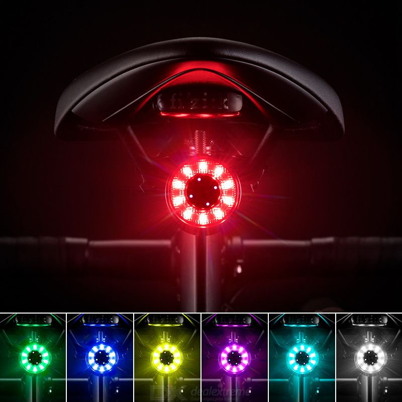 ROCKBROS Bicycle Taillights USB Charging Optical Lens Waterproof 5 Modes With Power Indicator Lights