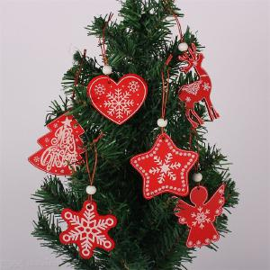 6pcs Wooden Ornaments Red Christmas Ornament Wood Chip Christmas Tree Hanging Pendant Decoration Christmas Tree Hanging Pendant