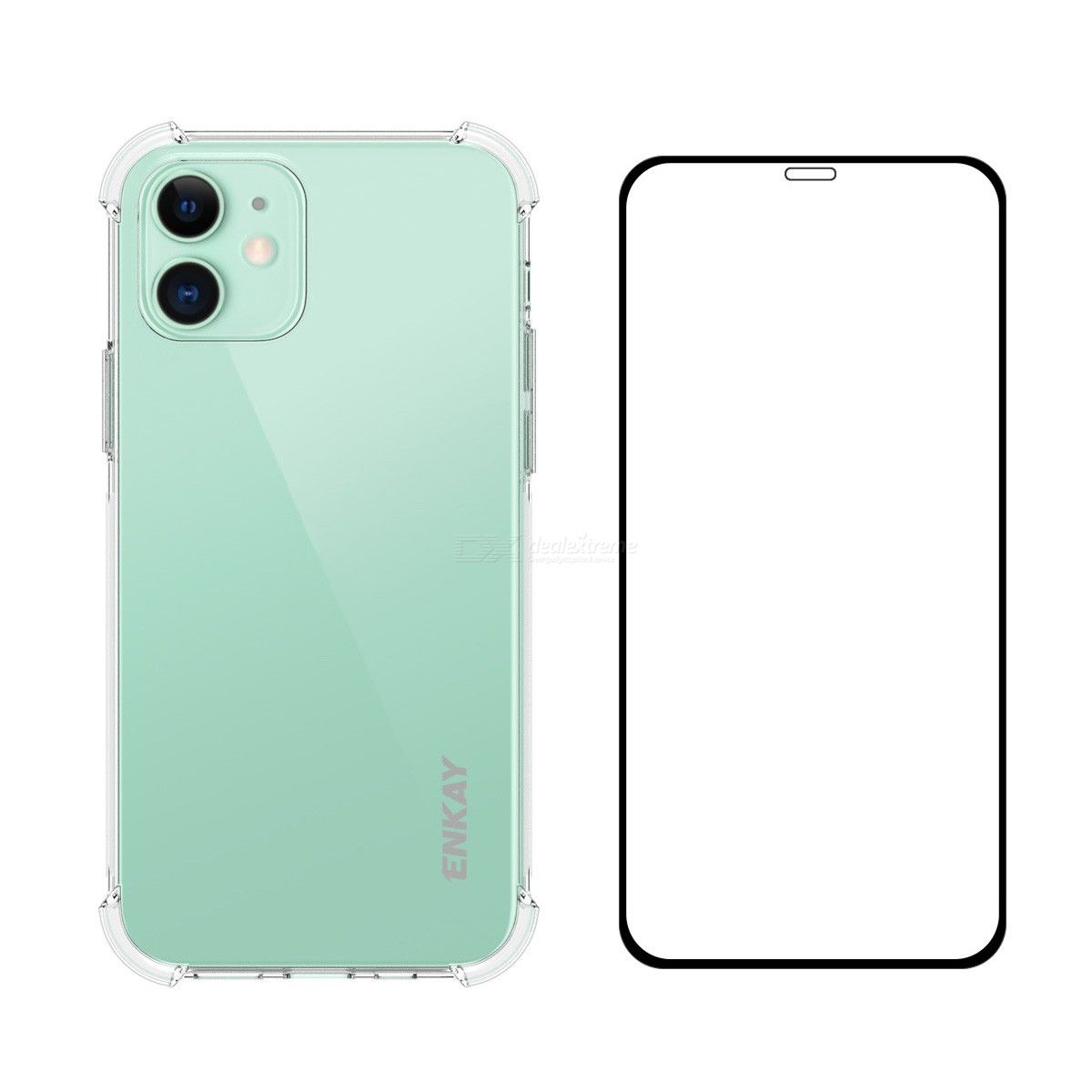 For iPhone 12 mini Hat-Prince ENKAY 2 in 1 Clear TPU Soft Case Shockproof Cover + 0.26mm 9H 2.5D Full Coverage Tempered Glass