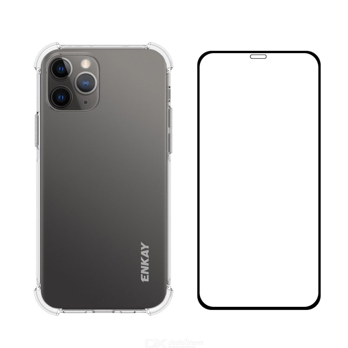 For iPhone 12 Pro Max Hat-Prince ENKAY 2 in 1 Clear TPU Soft Case Shockproof Cover + 0.26mm 9H 2.5D Full Coverage Tempered Glass