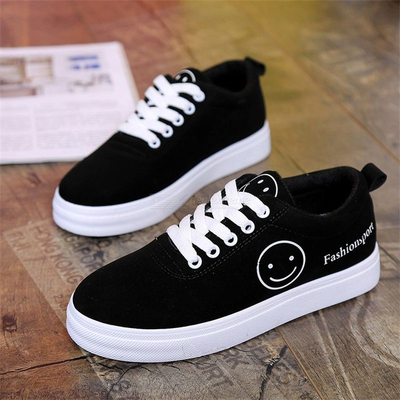 Smiley Print Shoes Flat Skate Boarding Shoes Fashion Shoes For Girls Lace-up Spr