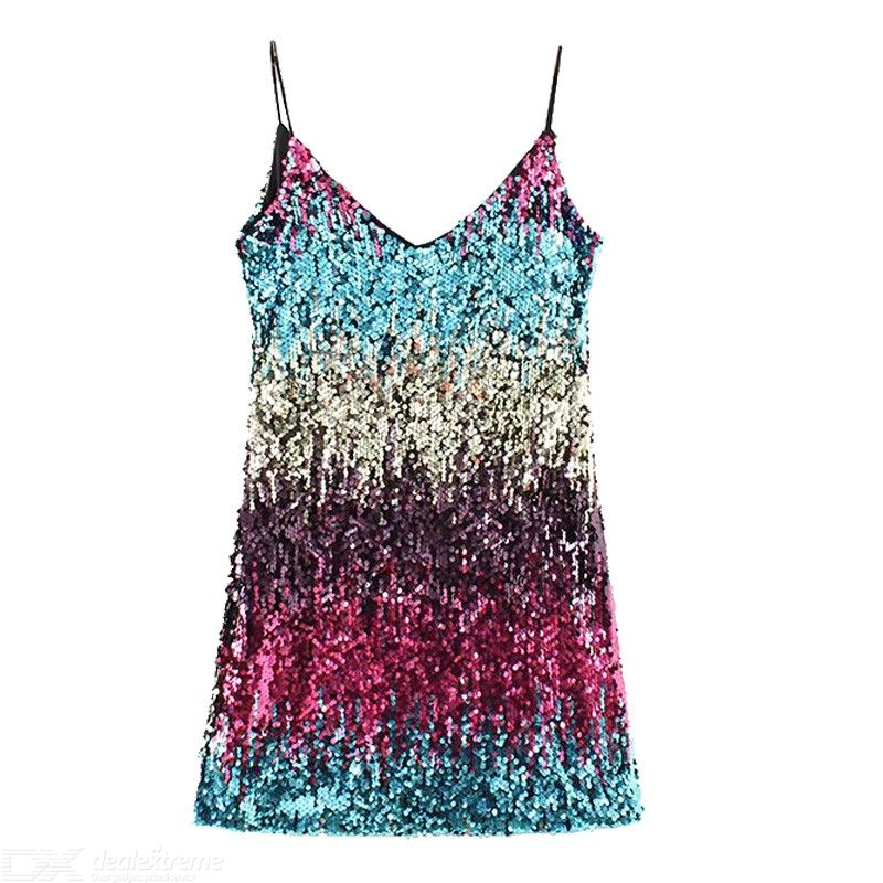 Colour bead piece ACTS the skirt with shoulder-straps sleeveless v-neck ins hot wear dress skirt shiny inside and outside