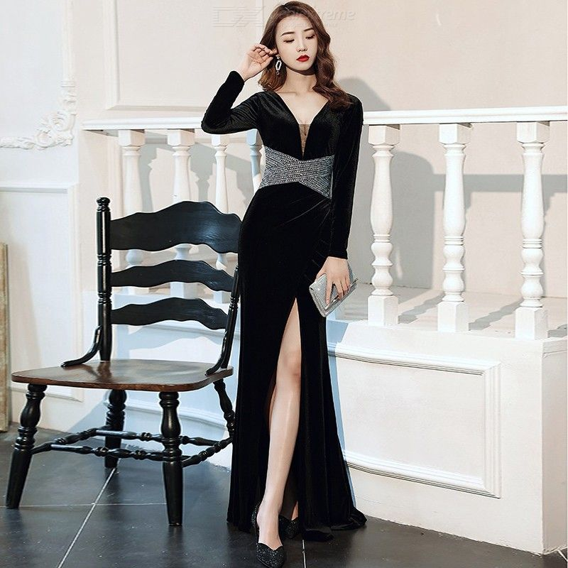 Annual meeting of the new queen aura high-end banquet temperament sexy long velvet long sleeves