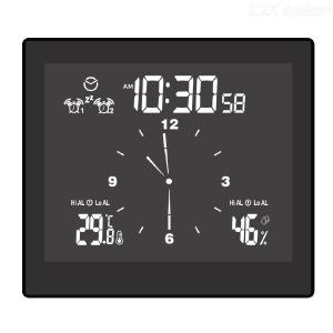 Multifunctional bathroom clock home desktop creative timer alarm clock upper and lower limit temperature and humidity meter