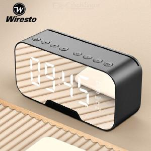 Wiresto Bluetooth Mirror Speaker Wireless LED LCD Screen Portable Super Bass Stereo Hands-free Calling Support FM/TF Card/AUX