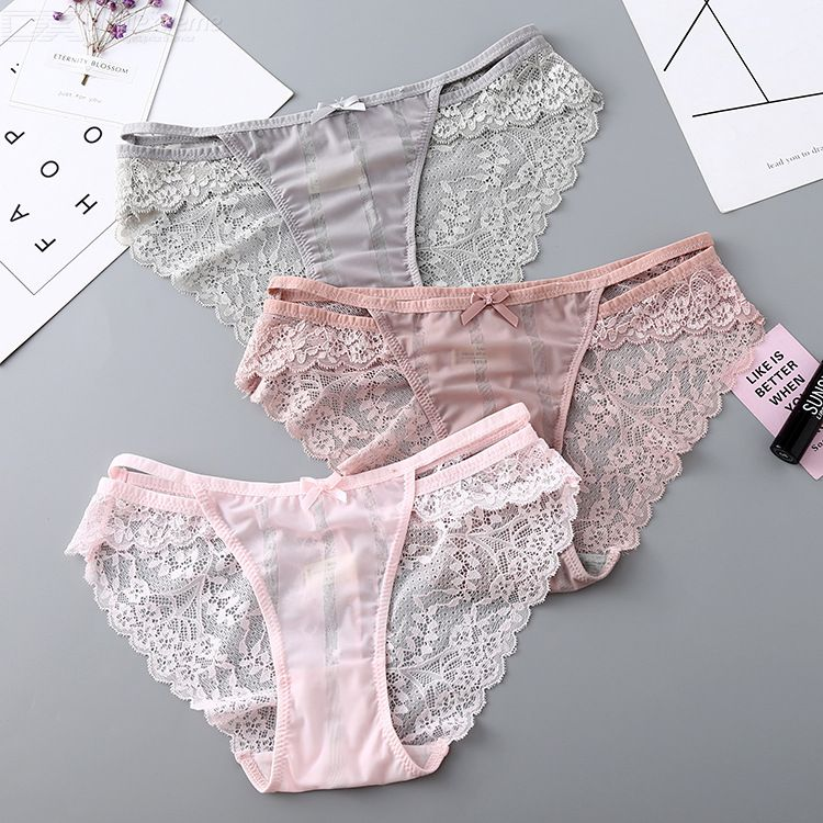 Women Underwear Ice Silk Breathable Cotton Bottom Panties Sexy Lingerie Lace Low Rise Panty For Ladies Hollow Out Briefs