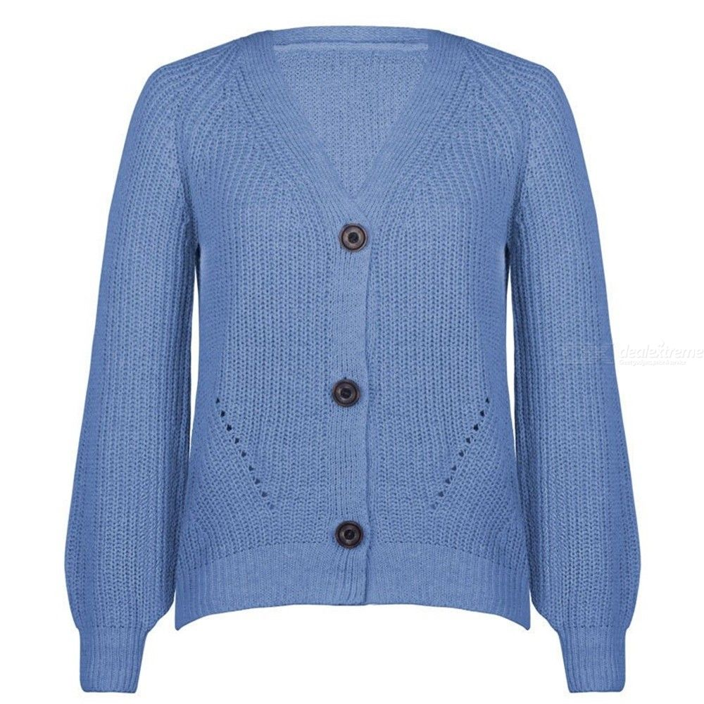 The new sweater pure color v-neck button cardigan autumn small sweet wind Han Fan ins with a sweater