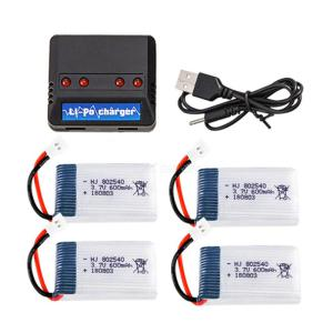 3.7V 600mAh 802540 25C Lithium Rechargable Batteries with 4 in 1 Charger for RC Toy X5C X5SC M68 M68R X705C 905 CX-30 328 M1 M2
