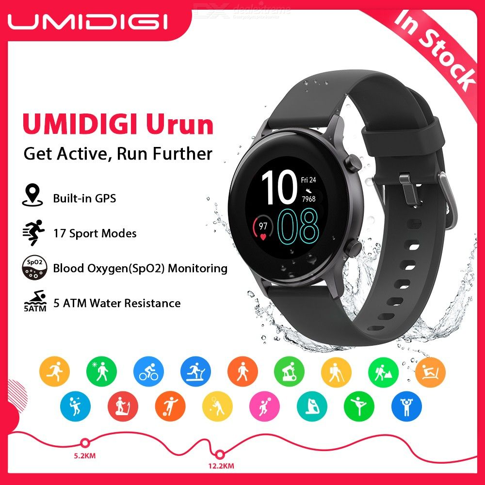 UMIDIGI Urun Built-in GPS Activity/Fitness Tracker Blood Oxygen Monitor 5ATM For Android IOS Heart Rate Smartwatc for Men Women