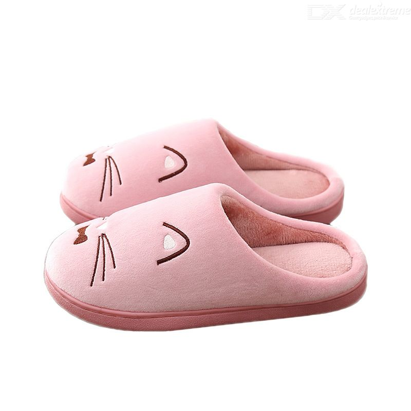 Winter Cotton Slippers Thick Sole Home Slippers Indoor Couple Slippers Warm-keeping Slippers Cat Pattern Plush Slippers