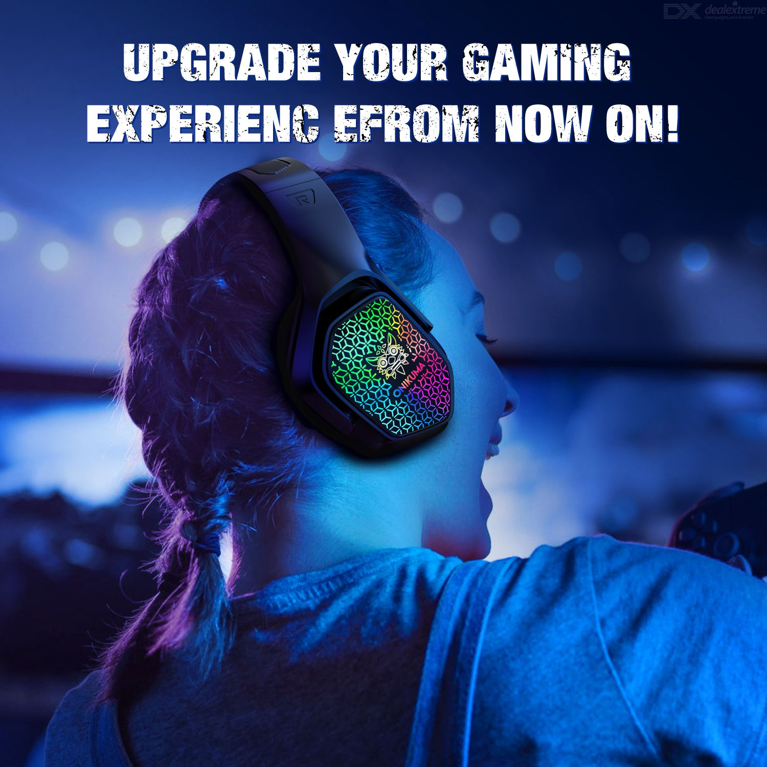ONIKUMA X3 Wired Gaming Headset Professional Headphone For Office Fashion LED Light Headphone Noise Cancelling