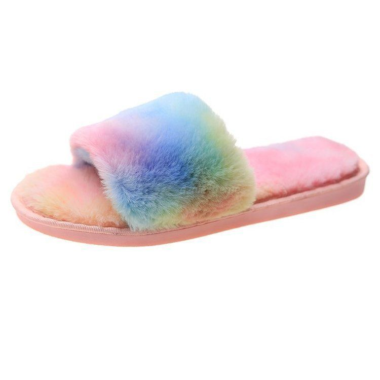 Soft Bottom Non-slip Fur Slippers Non-slip Flat-bottomed Rainbow Cotton Slippers For Women