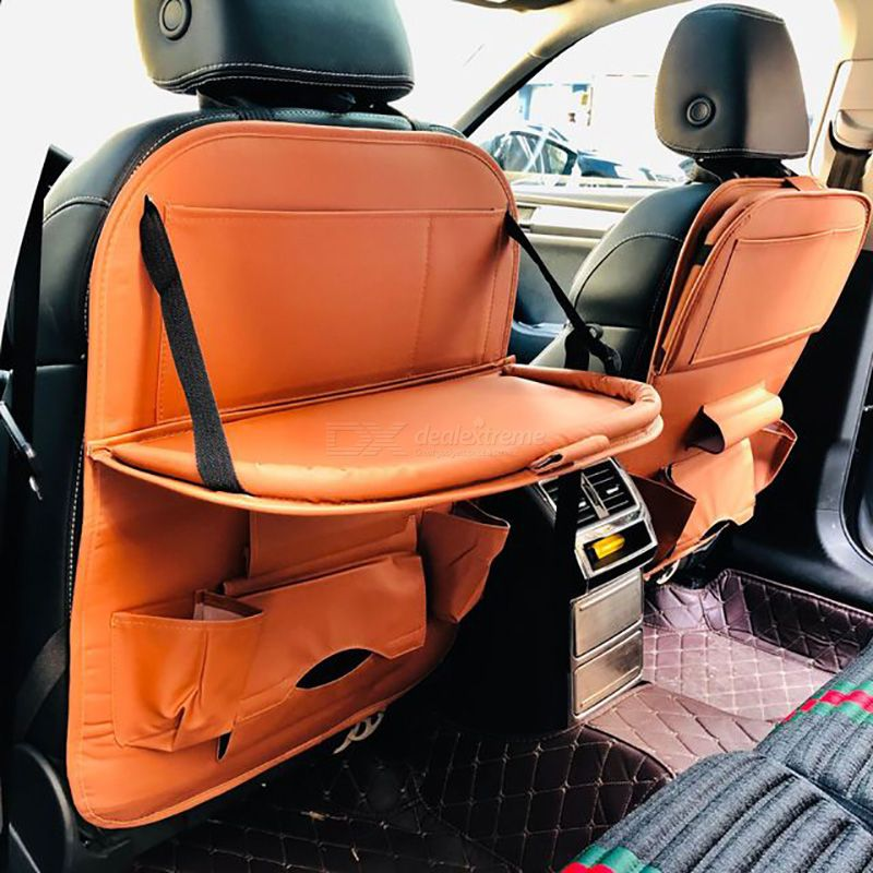 Car Multi-function Storage Bag Automobile Back Seat Leather Bag With Tray Car Seat Hanging Bag Interior Accessories