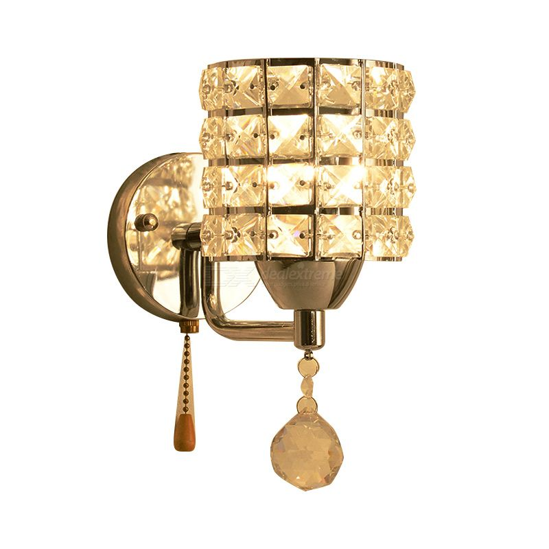 Crystal Wall Lamp Wall Light Sconces Lighting Fixture Pull Chain Switch Led Wall Light Free Shipping Dealextreme