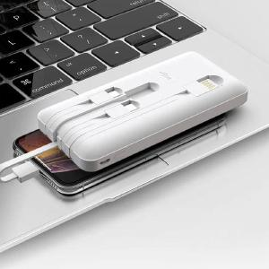 QOOVI  D600T  Power Bank 10000mAh External Battery Pack With 4 Charging Cables Fast Charging Power Bank