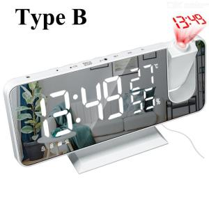 Electronic Digital Clock Multifunction Radio Projection Alarm Clock LED Mirror Clock Thermometer Hygrometer 6-in-1