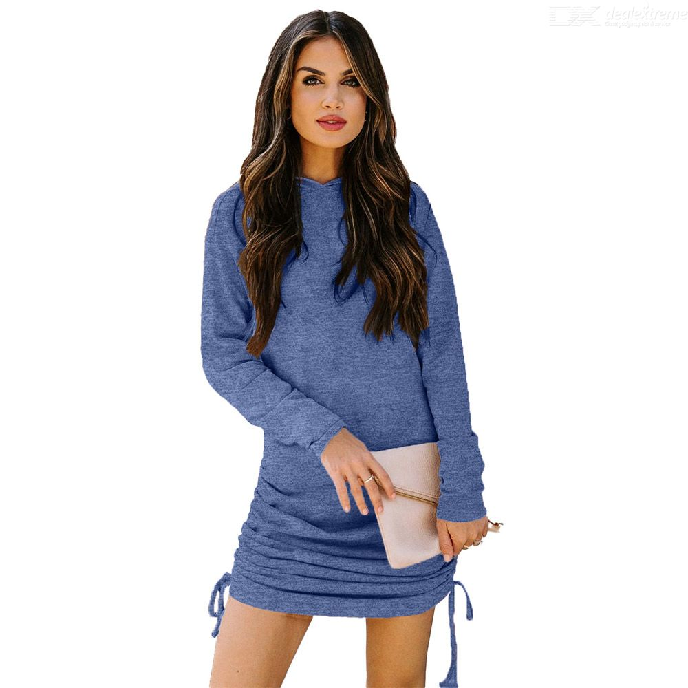 DeRuiLaDy 2021 New Spring Autumn Long Sleeve O-Neck Lace Up Hooded Dresses For Women Fashion Sexy Draped Mini Dress Female