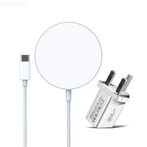 2 in 1 15W magnetic suction wireless charger + PD 20W usb-c / type-C UK Plug charger for iPhone 12 series
