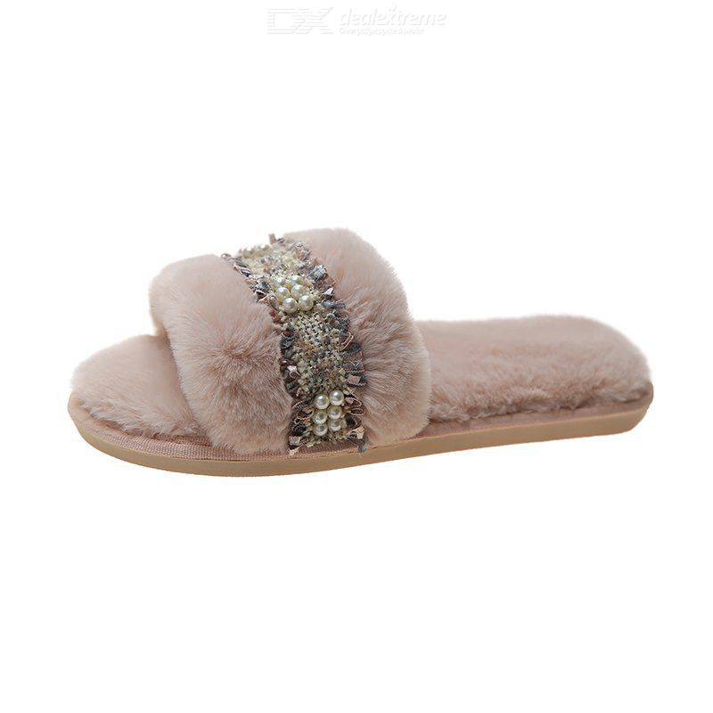 Cotton Mop Flat-heeled Fur Slippers Opening Slippers Non-slip Warm Slippers For Women