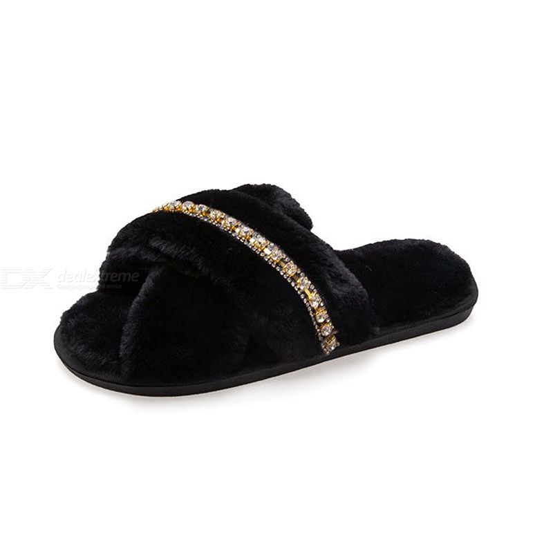 Furry Slippers All-match Flat Bottom Hair Drag Outer Wear Plus Cotton Slippers For Women