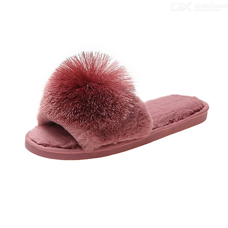Korean Style Autumn Winter Plush Ball Decor Slippers Fashion Cotton Slides Bare-