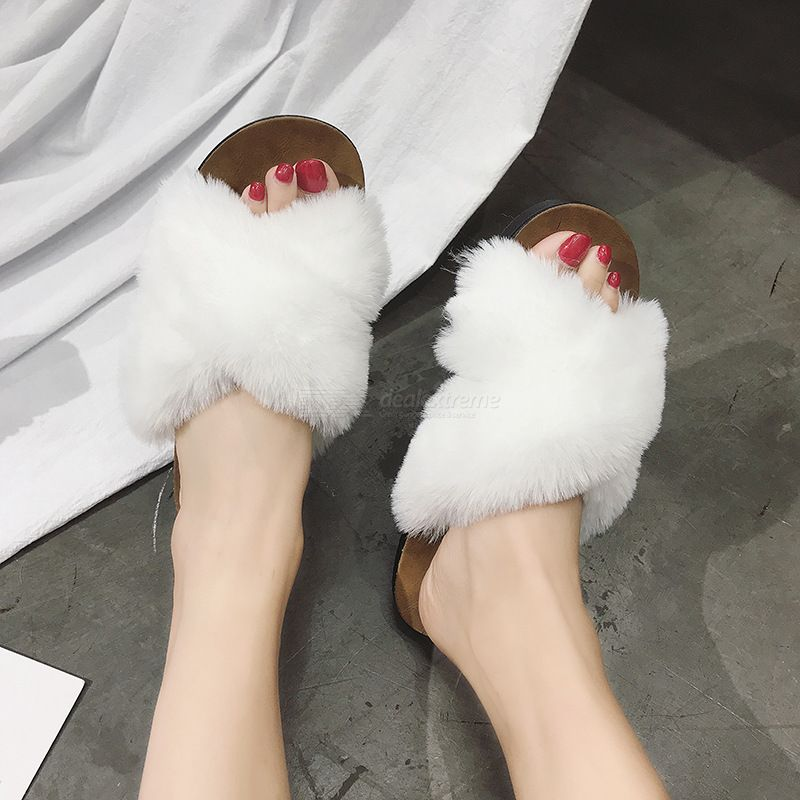 Cross Hair Slippers Furry Flat Sandals Cross Open Toe Slippers Fluffy Slippers P