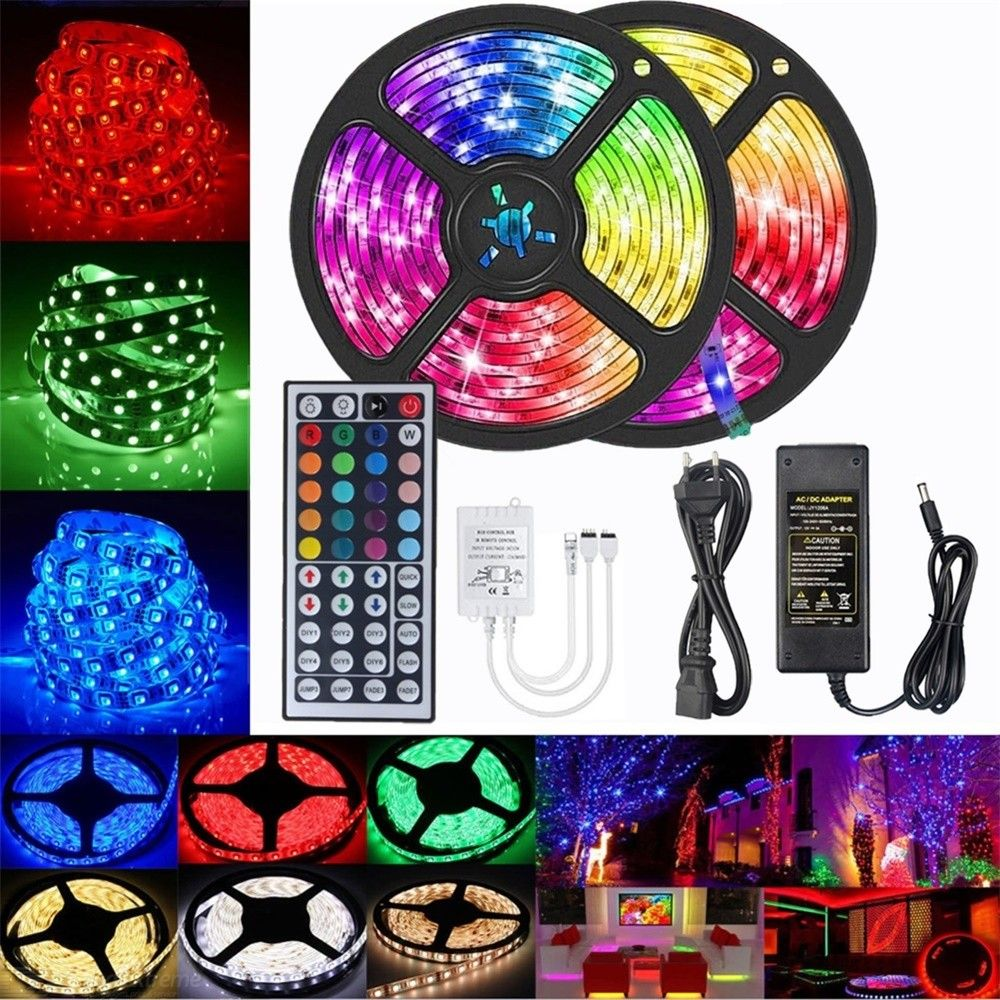 YWXLight 2x5M 2835 RGB LED Strip Lights No-Waterproof 44 key IR Remote Controller + 5A Power Adapter AC 100-240V