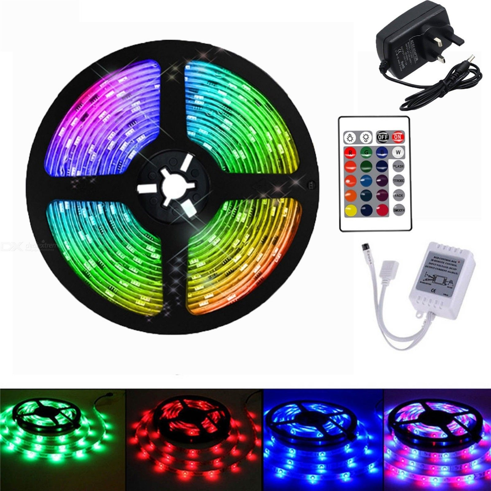 UK plug 5M 2835SMD No Waterproof Light With 24 Key Remote Control RGB LED Light Strip