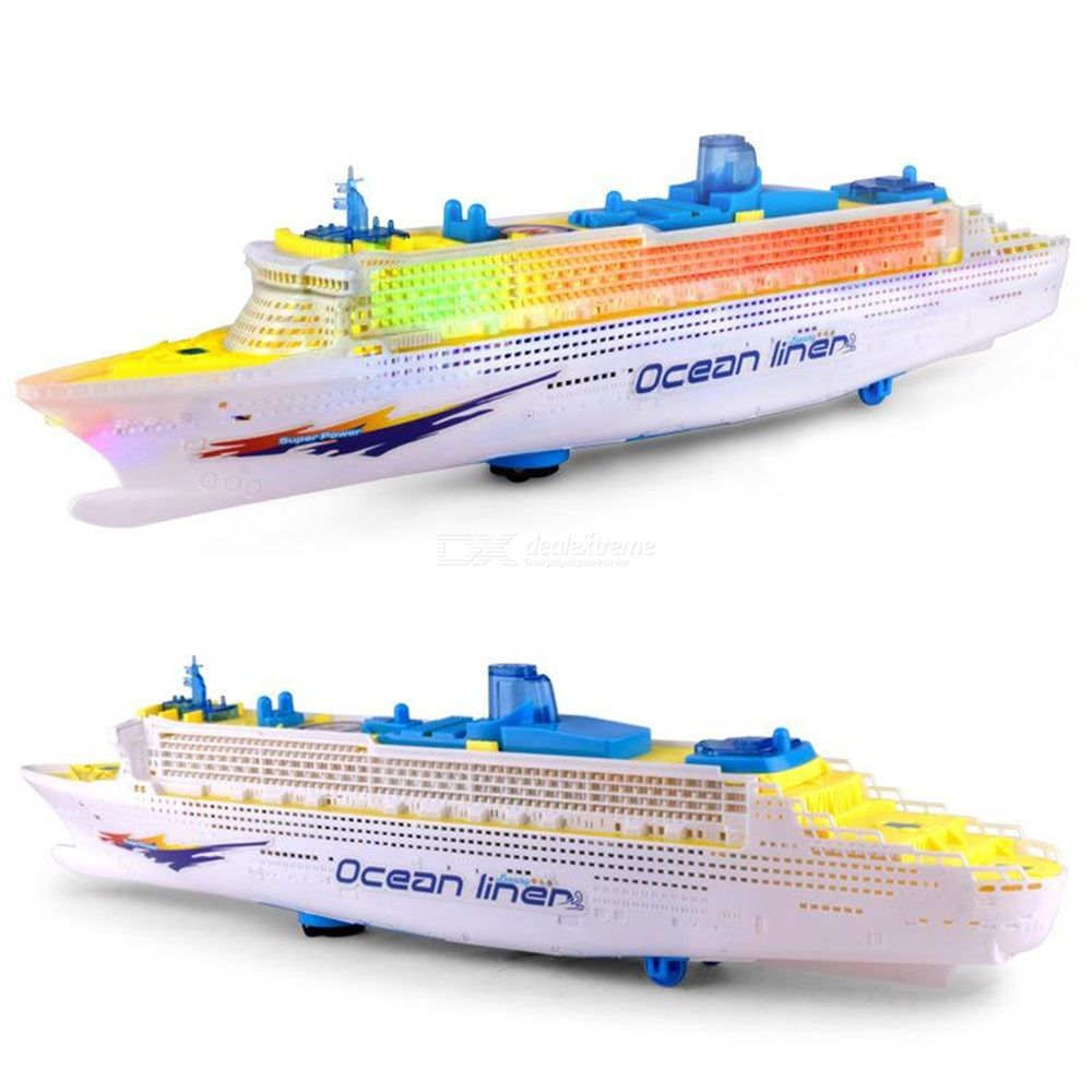 Colorful Ocean Liner Cruise Ship Boat Simulation Model Electric Flashing LED Light Music For Kids