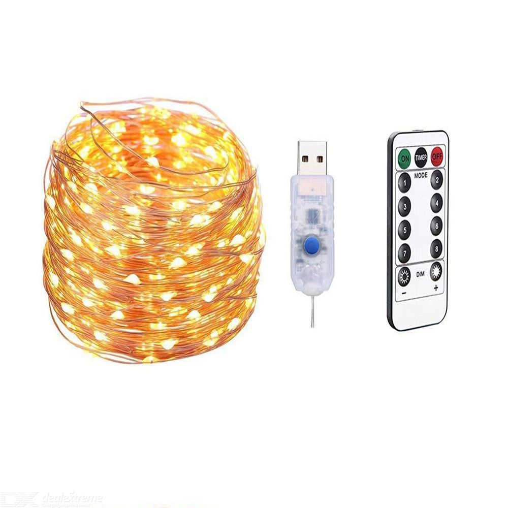 10M USB 8 Modes Copper Wire LED String Light for Christmas Holiday Home Decor + Remote Control