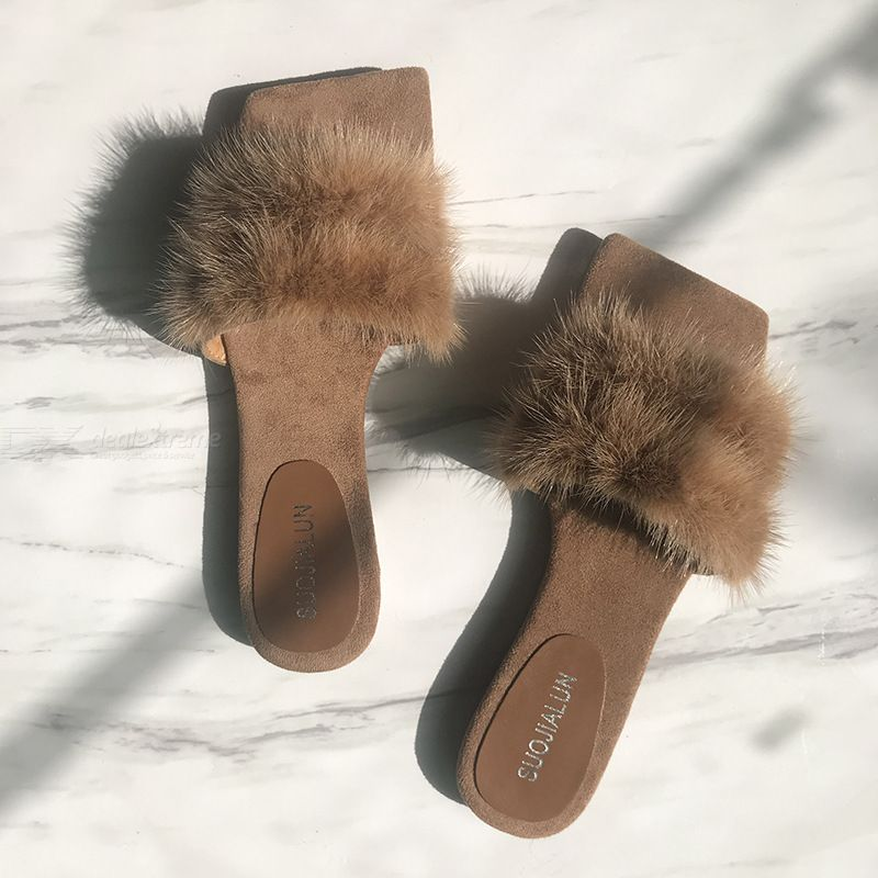 Real Mink Slippers Flat Square Head Sandals Fur Slippers For Women