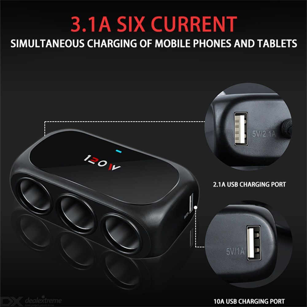 Car Charger Dual USB Ports 3 Socket Cigarette Lighter Splitter 3.1A 120W With LED Charging Indicator