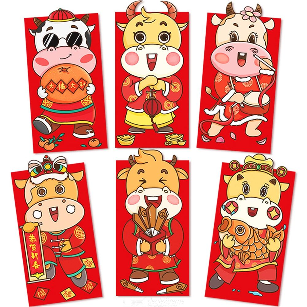 2021 The Year Of Ox Lucky Money Bag Creative Cartoon Chinese Year Red Envelops Lucky Money Packet For New Year Christmas Party